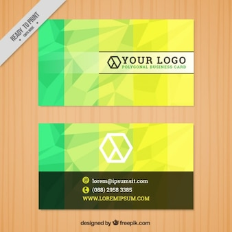 Yellow and green polygonal business card