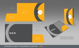 黄色と灰色のビジネスフォルダ