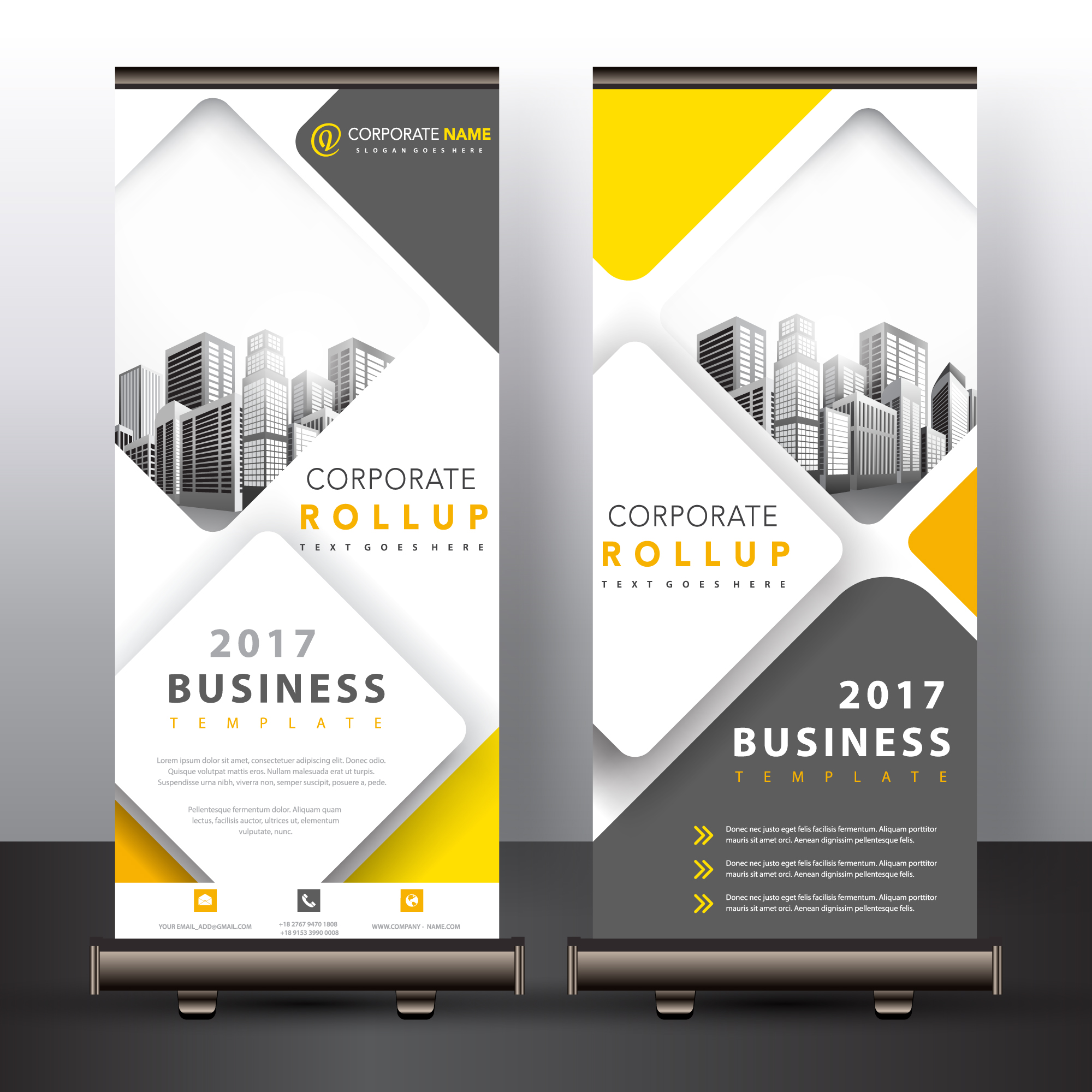 Yellow and grey roll up design