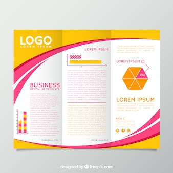 Yellow and pink business brochure