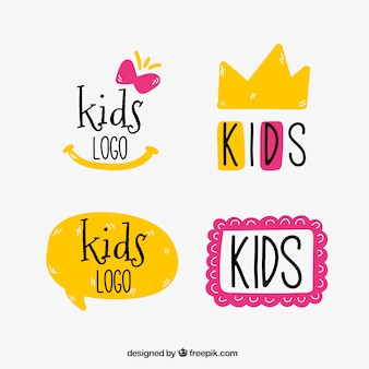 Yellow and pink kids logos