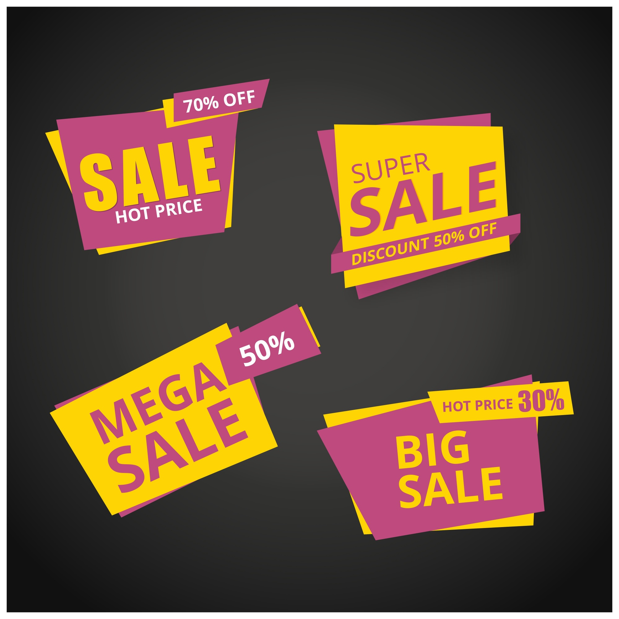 Yellow and pink sale banner collection