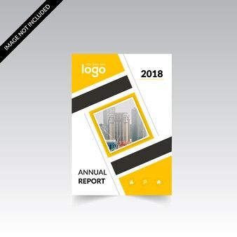 黄色と白のビジネスパンフレット、黒のディテール