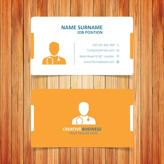 Yellow and white doctor business card