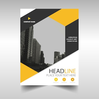 Yellow annual report book cover template