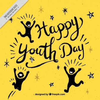Yellow background of youth day in vintage style