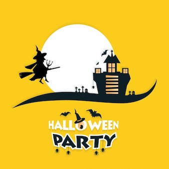 Yellow background witch and haunted house