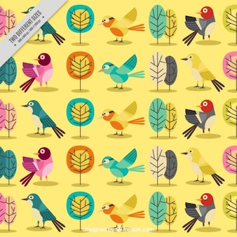 Yellow background with cute birds and trees