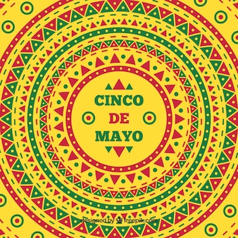 Yellow background with geometric shapes for cinco de mayo