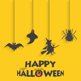 Yellow background with halloween elements
