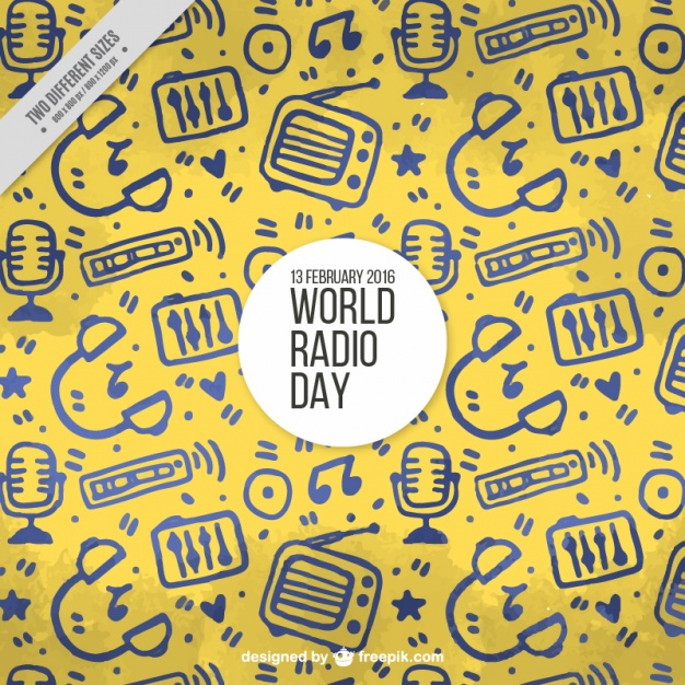 Yellow background with hand-drawn objects for world radio day
