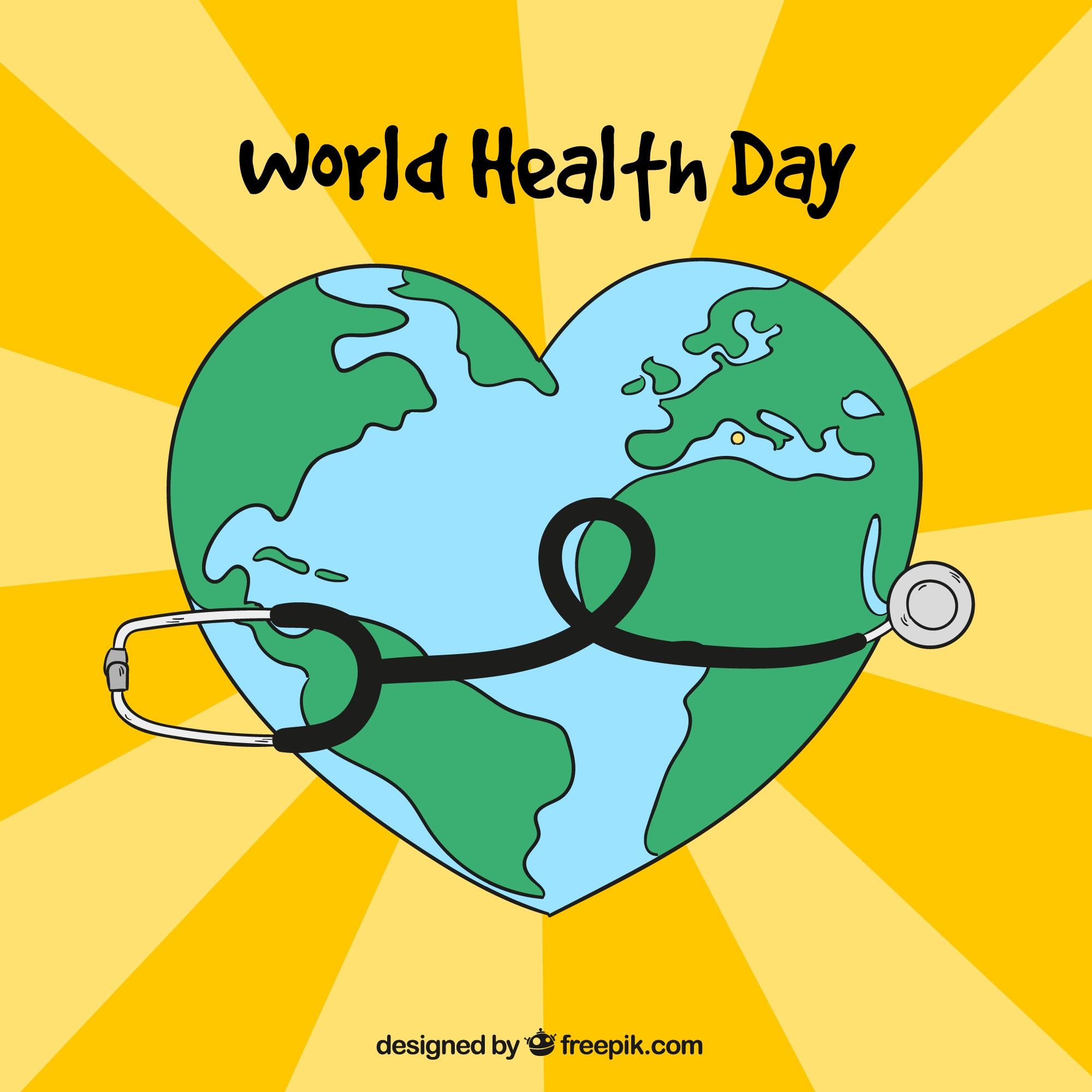 Yellow background with heart and stethoscope