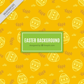 Yellow background with sketches of easter eggs