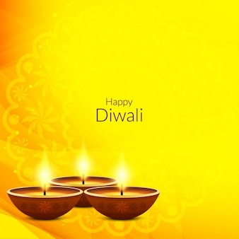 Yellow background with three candles, diwali