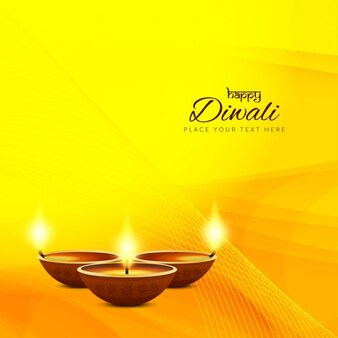 Yellow background with wavy lines for diwali