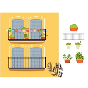Yellow balconies and plants