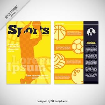 Yellow basketball magazine template