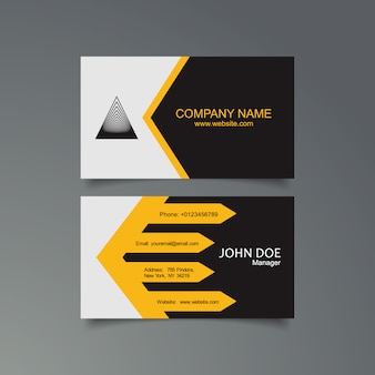 Yellow, black and white business card template