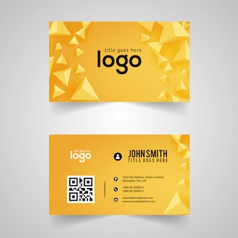 Yellow business card with geometric design