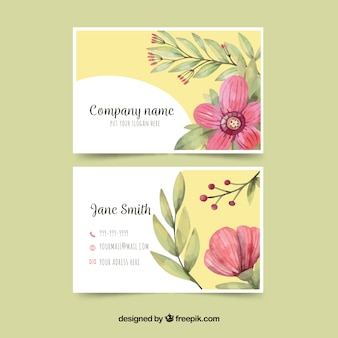 Yellow business card with pink flower