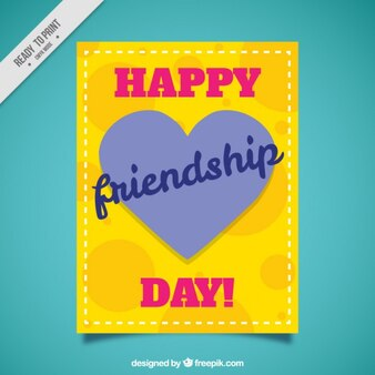 Yellow card of friendship day with a heart
