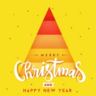Yellow christmas background with geometric tree