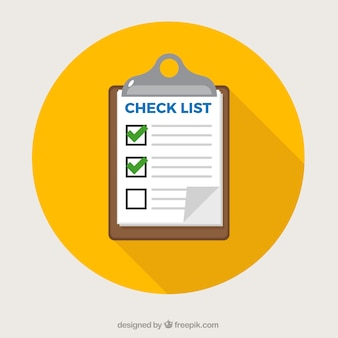 Yellow circle with clipboard and checklist
