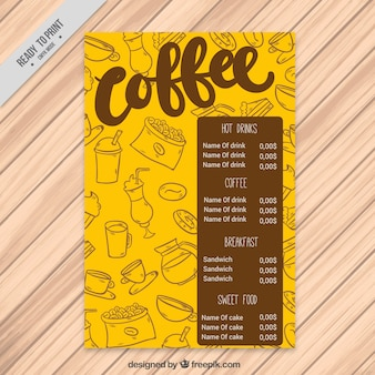 Yellow coffee menu with sketches