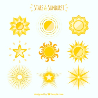 Yellow collection of sunburst and star