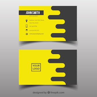 Yellow corporate card in flat design
