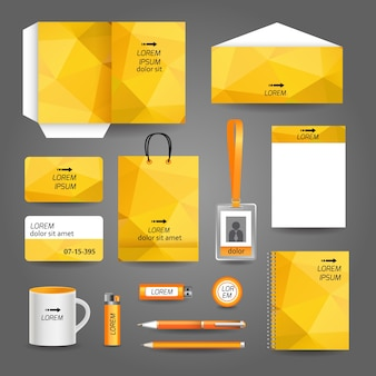 Yellow corporate stationery with geometric design