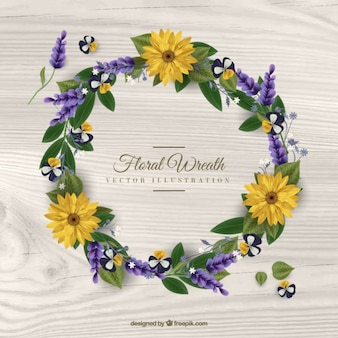 Yellow daisies wreath with leaves