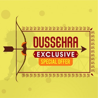 Yellow dussehra background with arrow and bow