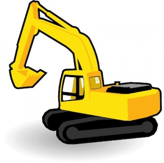 Yellow excavator graphic