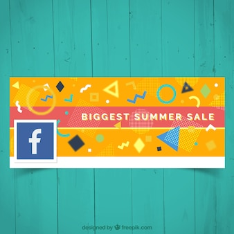 Yellow facebook cover with abstract shapes