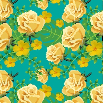 Yellow floral pattern on blue background