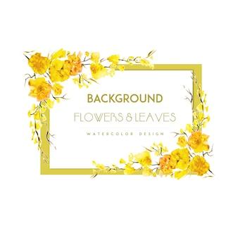 Yellow flower frame background