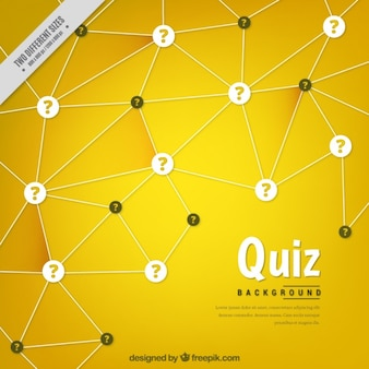 Yellow geometric background with question marks