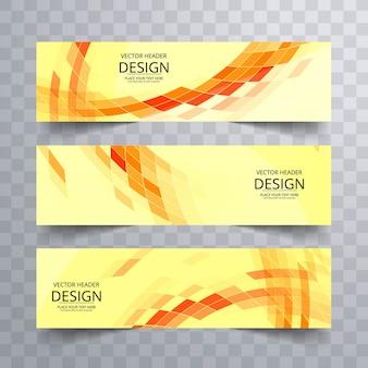 Yellow geometric banners