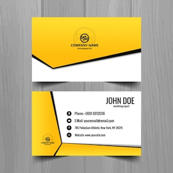 Yellow geometric business card template
