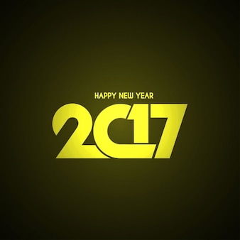 Yellow geometric numbers on black background for new year