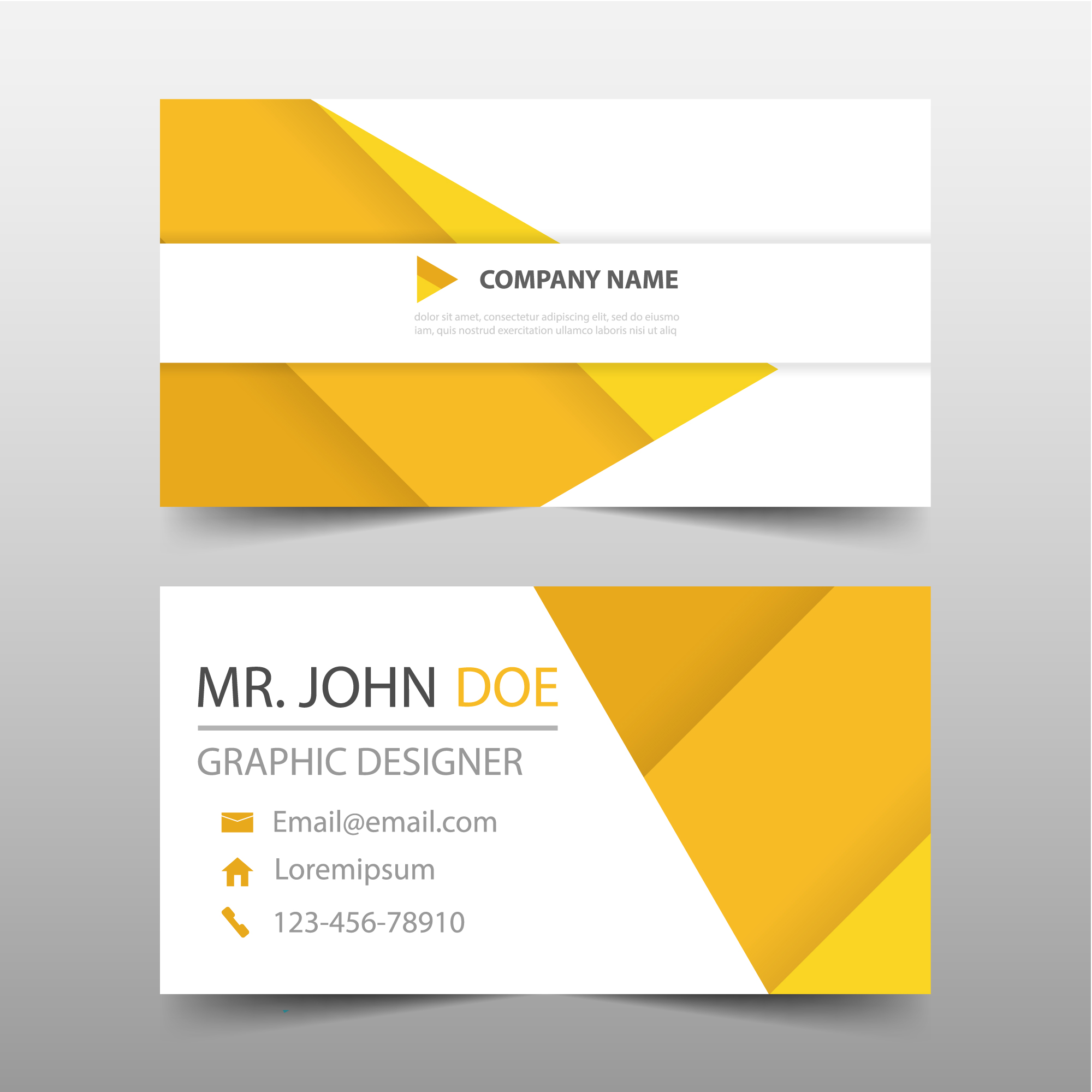 Yellow geometric style business card