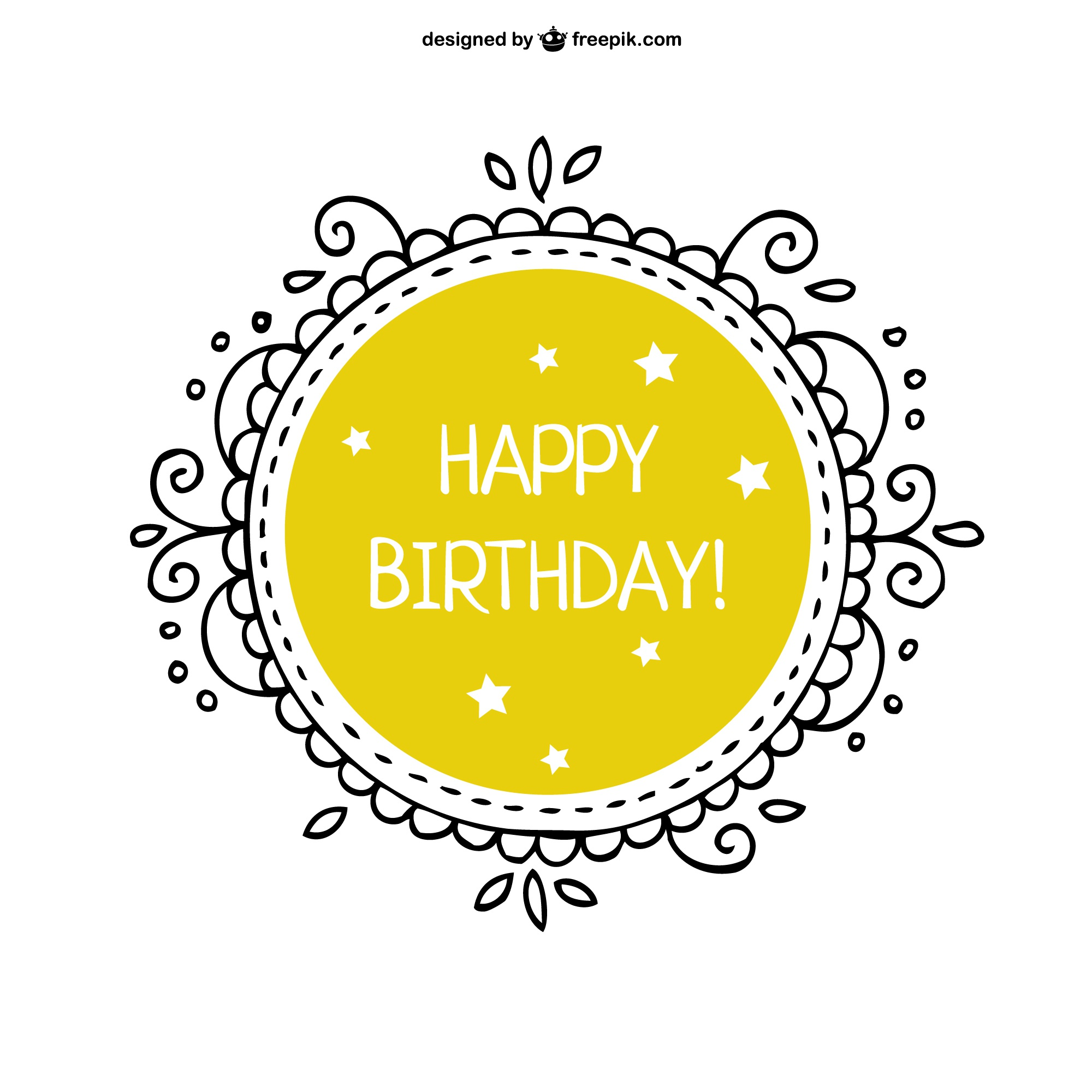 Yellow Happy Birthday card with ornamental frame