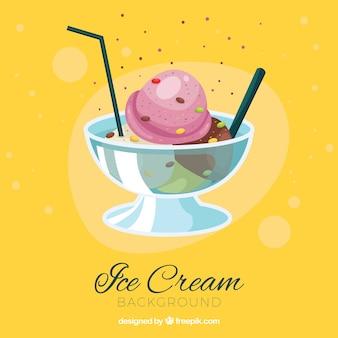 Yellow ice cream dessert background