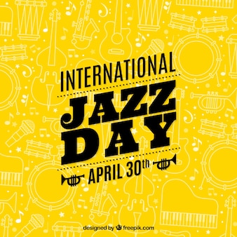 Yellow international jazz day background with sketches