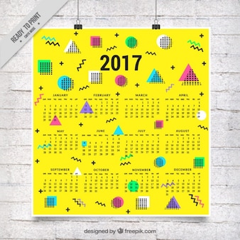 Yellow memphis calendar