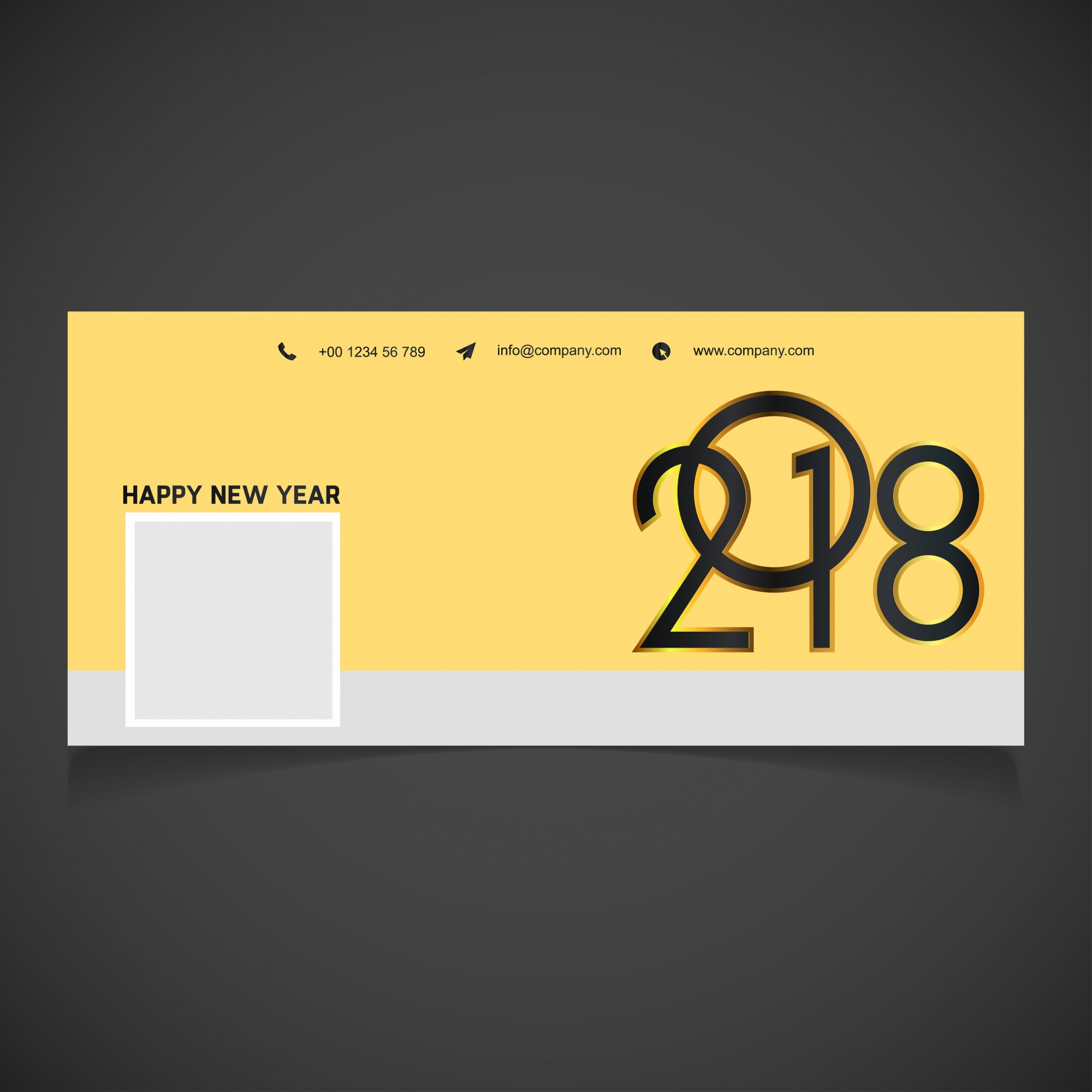 Yellow new year 2018 facebook cover