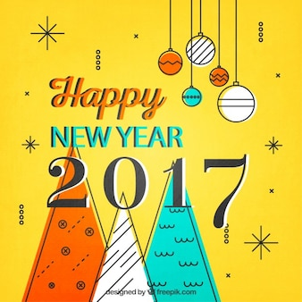 Yellow New Year Card