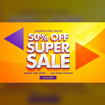 Yellow, orange and purple discount voucher