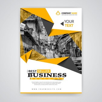 Yellow origami business template